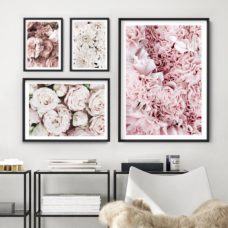 Blush Florals | Sea of Flowers - Art Print, Stretched Canvas or Framed Canvas Wall Art, Shown framed in a room mockup