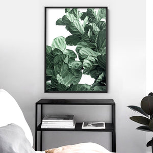 Fiddle Leaf Fig Watercolour II - Art Print, Stretched Canvas or Framed Canvas Wall Art, Shown inside a frame