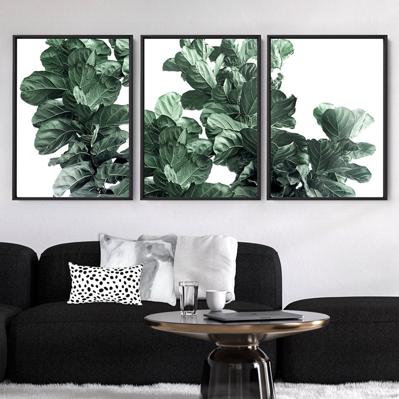 Fiddle Leaf Fig Watercolour II - Art Print, Stretched Canvas or Framed Canvas Wall Art, Shown framed in a room mockup