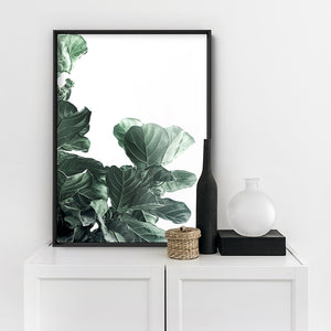 Fiddle Leaf Fig Watercolour III - Art Print, Stretched Canvas or Framed Canvas Wall Art, Shown inside a frame