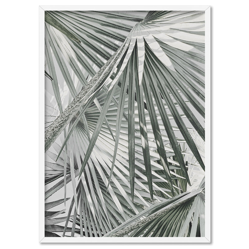 Fan Palm View in Pastels - Art Print, Stretched Canvas, or Framed Canvas Wall Art