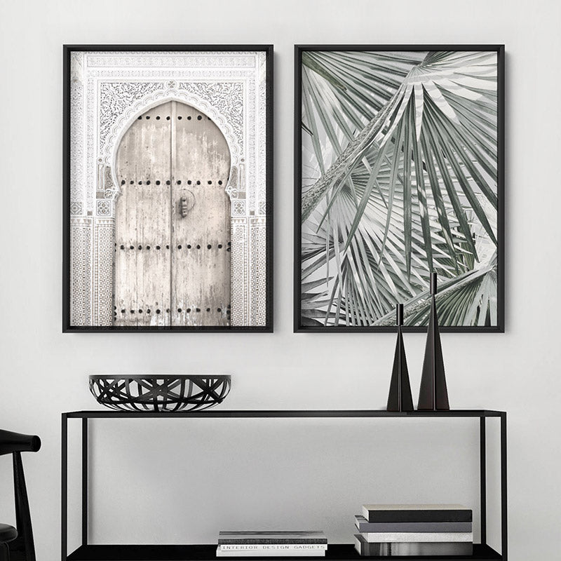 Fan Palm View in Pastels - Art Print, Stretched Canvas or Framed Canvas Wall Art, Shown framed in a room mockup