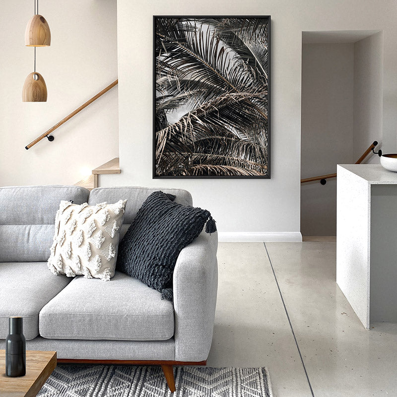 Monochrome Palm View - Art Print, Stretched Canvas or Framed Canvas Wall Art, Shown inside a frame
