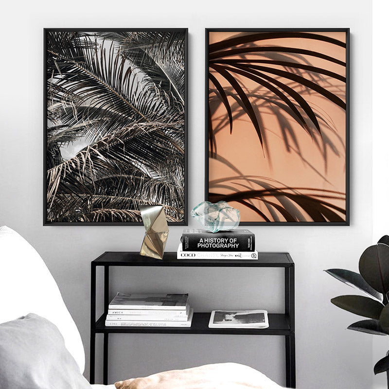 Monochrome Palm View - Art Print, Stretched Canvas or Framed Canvas Wall Art, Shown framed in a room mockup