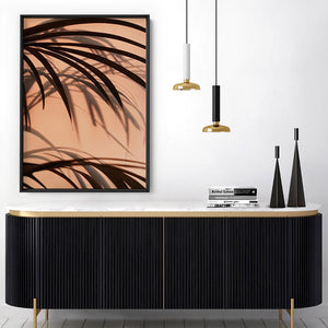 Burnt Orange Palms View - Art Print, Stretched Canvas or Framed Canvas Wall Art, Shown inside a frame