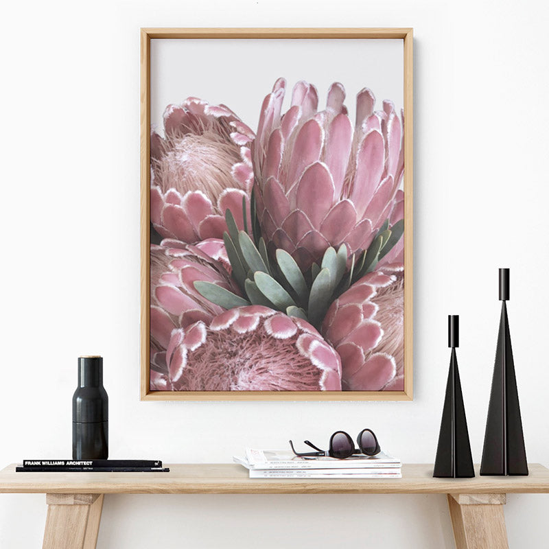 Queen Protea Stack - Art Print, Stretched Canvas or Framed Canvas Wall Art, Shown inside a frame