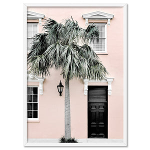 Palm Villa Doorway | Blush - Art Print, Stretched Canvas, or Framed Canvas Wall Art