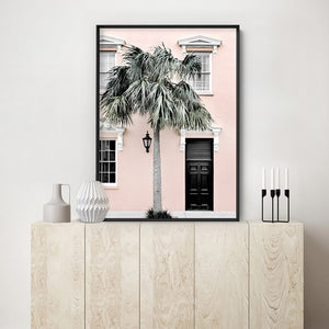 Palm Villa Doorway | Blush - Art Print, Stretched Canvas or Framed Canvas Wall Art, Shown inside a frame