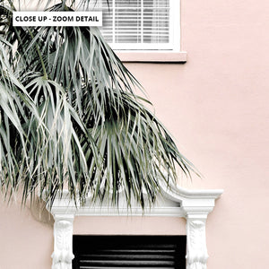 Palm Villa Doorway | Blush - Art Print, Stretched Canvas or Framed Canvas Wall Art, Close up View of Print Resolution