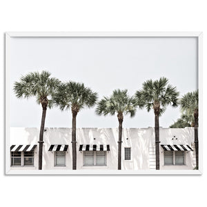 Coastal Palms View on South Beach - Art Print, Stretched Canvas, or Framed Canvas Wall Art
