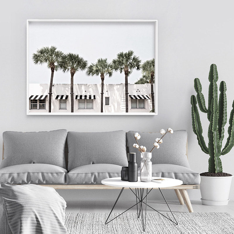Coastal Palms View on South Beach - Art Print, Stretched Canvas or Framed Canvas Wall Art, Shown inside a frame