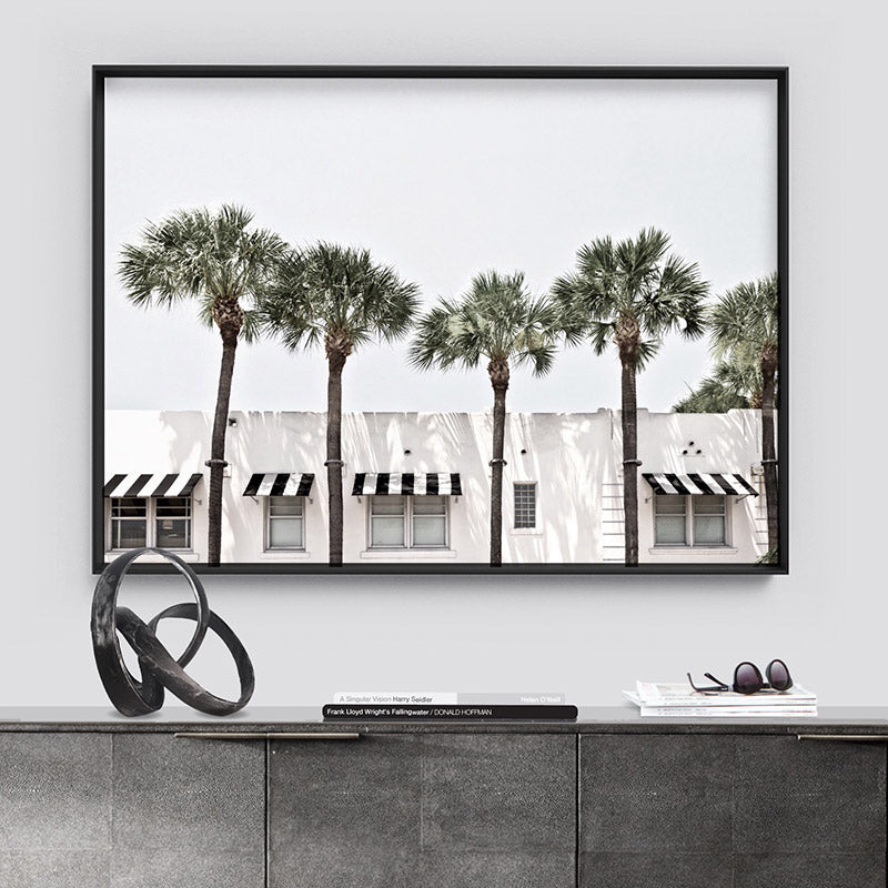 Coastal Palms View on South Beach - Art Print, Stretched Canvas or Framed Canvas Wall Art, Shown framed in a room mockup