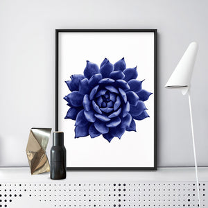 Load image into Gallery viewer, Indigo Succulent I - Art Print