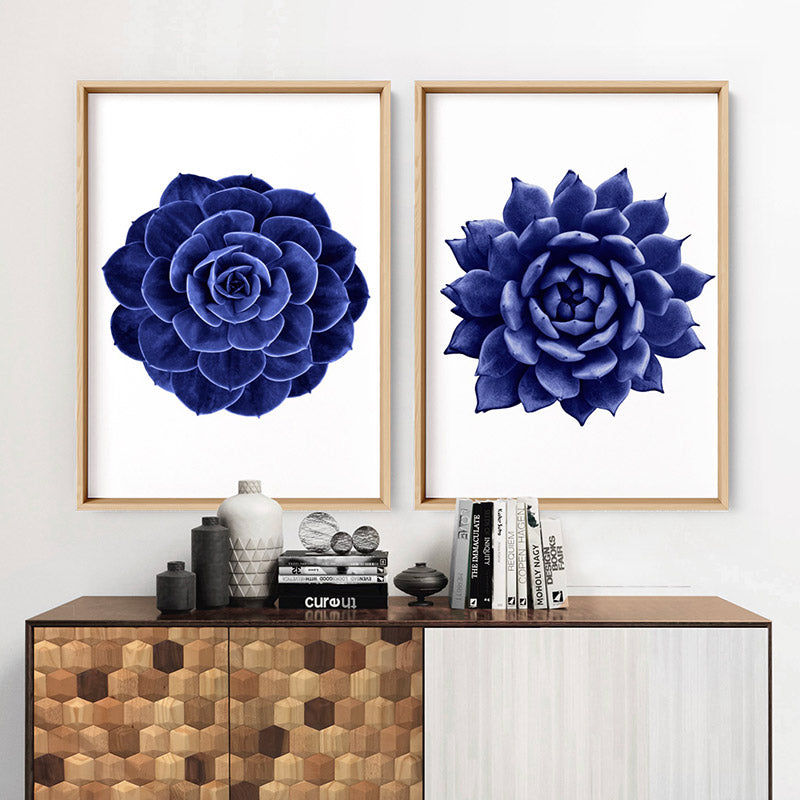 Indigo Succulent I - Art Print, Stretched Canvas or Framed Canvas Wall Art, Shown inside a frame