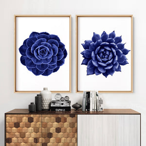 Load image into Gallery viewer, Indigo Succulent II - Art Print, Stretched Canvas or Framed Canvas Wall Art, Shown inside a frame