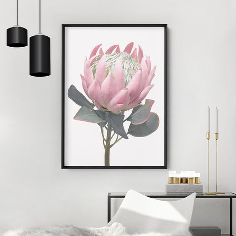King Protea Vintage Portrait - Art Print, Stretched Canvas, or Framed Canvas Wall Art