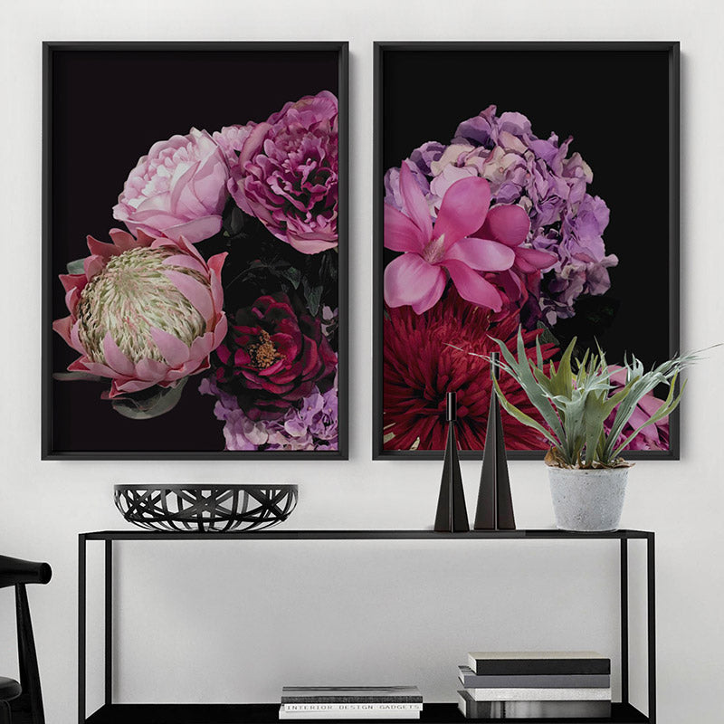 Dark Floral I - Art Print, Stretched Canvas or Framed Canvas Wall Art, Shown inside a frame