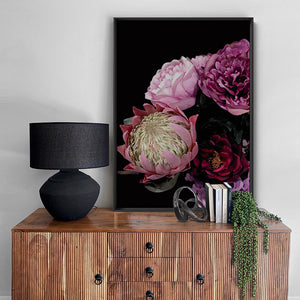 Dark Floral V1 - Art Print, Stretched Canvas, or Framed Canvas Wall Art