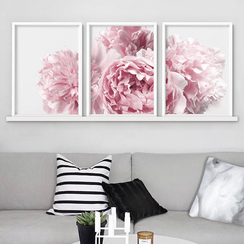 Peonies Bunch II - Art Print, Stretched Canvas or Framed Canvas Wall Art, Shown inside a frame