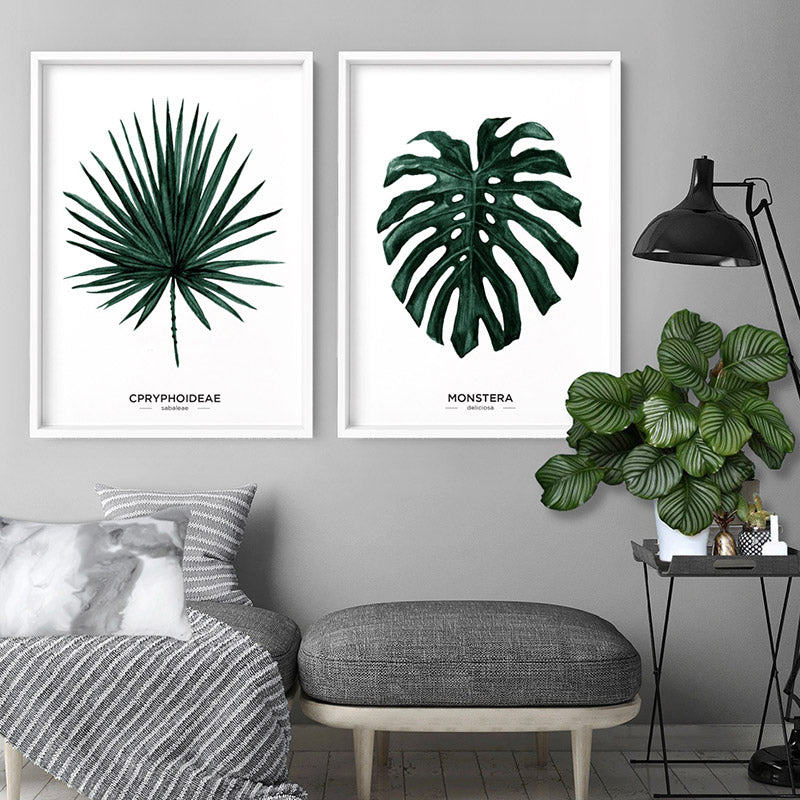 Monstera Scandi Leaf Watercolour (dark green) - Art Print, Stretched Canvas or Framed Canvas Wall Art, Shown inside a frame