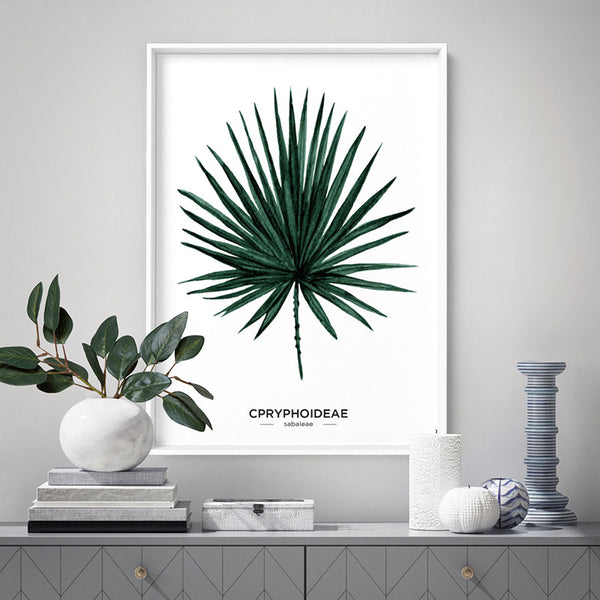 Fan Palm Scandi Leaf Watercolour (dark green) - Art Print, Stretched Canvas, or Framed Canvas Wall Art