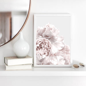 Peonies in Neutral - Art Print, Stretched Canvas or Framed Canvas Wall Art, Shown inside a frame