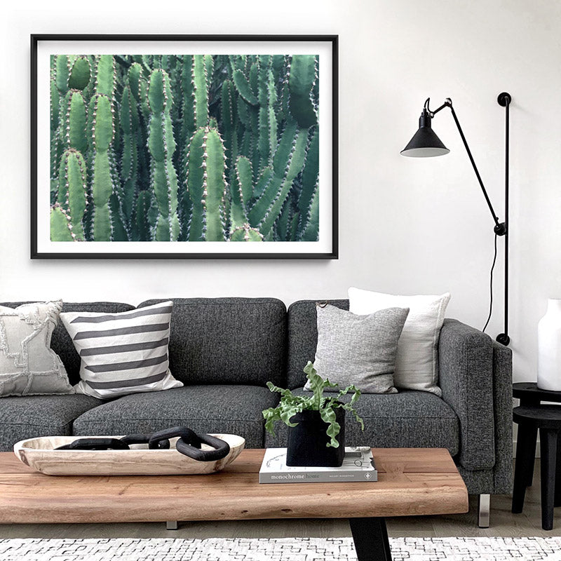 Prickly Cacti Garden - Art Print, Stretched Canvas or Framed Canvas Wall Art, Shown inside a frame