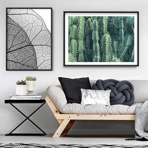 Prickly Cacti Garden - Art Print, Stretched Canvas or Framed Canvas Wall Art, Shown framed in a room mockup