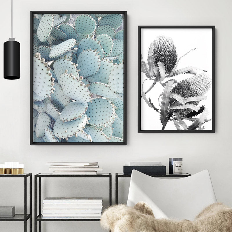 Prickly Pear / Beavertail Cactus in Pastel - Art Print, Stretched Canvas or Framed Canvas Wall Art, Shown framed in a room mockup