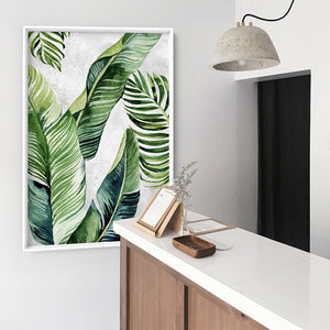 Tropical Palm & Banana Leaves Foliage in Watercolour I - Art Print, Stretched Canvas or Framed Canvas Wall Art, Shown inside a frame