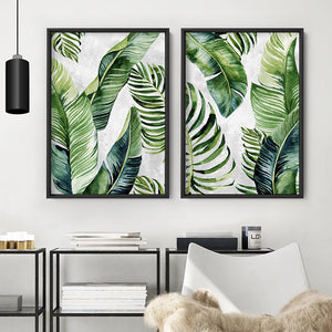 Tropical Palm & Banana Leaves Foliage in Watercolour I - Art Print, Stretched Canvas or Framed Canvas Wall Art, Shown framed in a room mockup