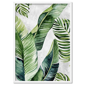 Tropical Palm & Banana Leaves Foliage in Watercolour I - Art Print, Stretched Canvas, or Framed Canvas Wall Art