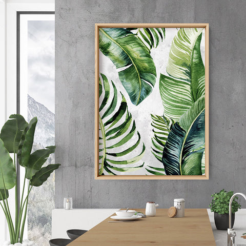 Tropical Palm & Banana Leaves Foliage in Watercolour II - Art Print, Stretched Canvas, or Framed Canvas Wall Art