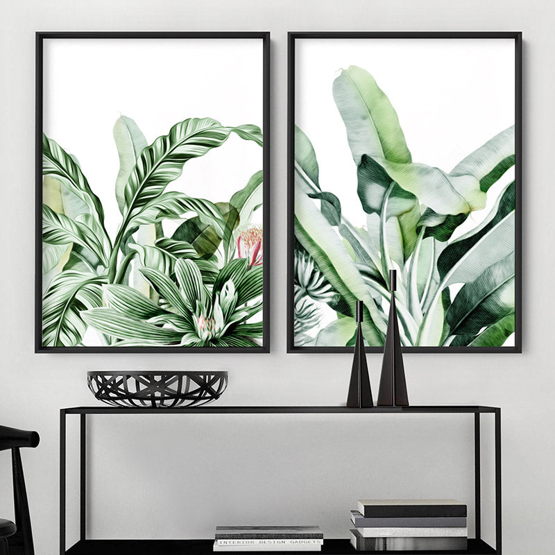 Tropical Sketched Rainforest Leaves & Foliage - Art Print, Stretched Canvas or Framed Canvas Wall Art, Shown framed in a room mockup