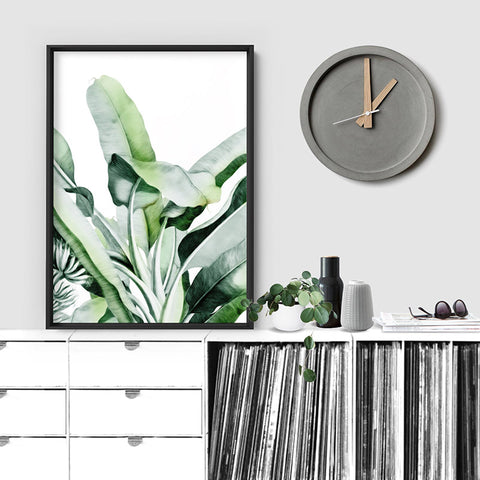 Tropical Sketched Banana Palm Leaves & Foliage - Art Print, Stretched Canvas, or Framed Canvas Wall Art