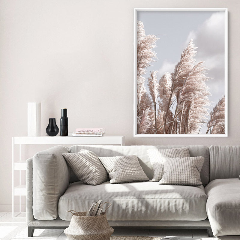 Pampas Grass I in Pastels - Art Print, Stretched Canvas or Framed Canvas Wall Art, Shown inside a frame