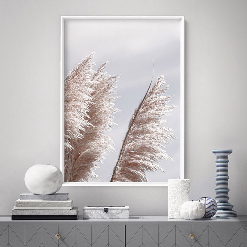 Load image into Gallery viewer, Pampas Grass II in Pastels - Art Print, Stretched Canvas or Framed Canvas Wall Art, Shown inside a frame