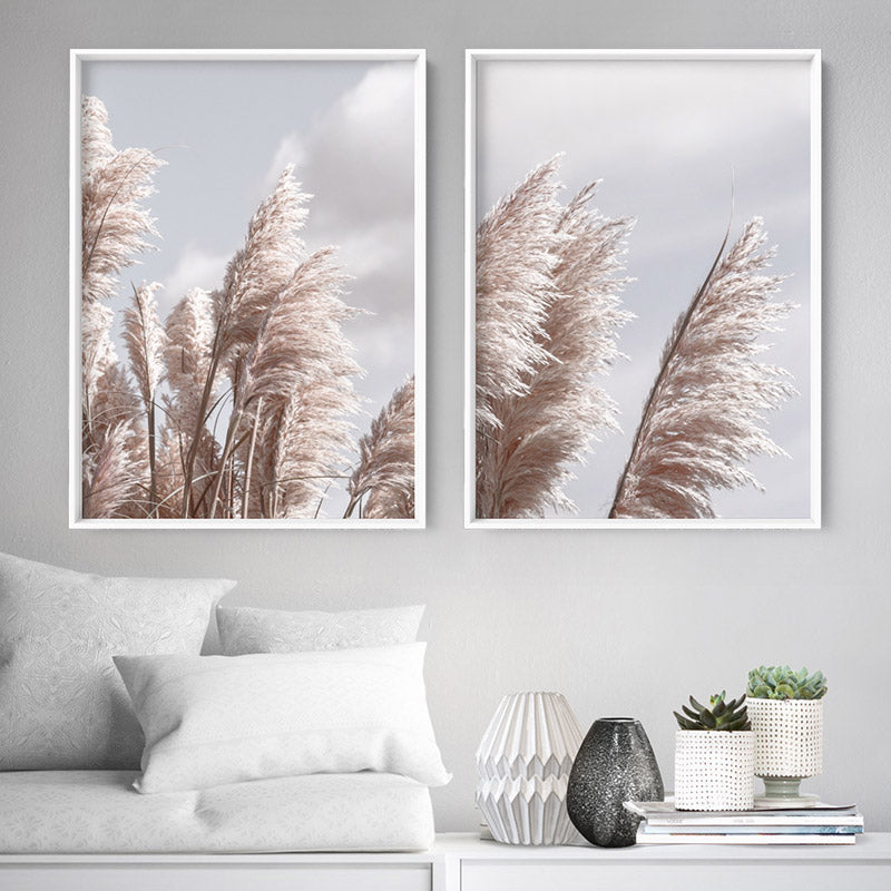 Pampas Grass II in Pastel Blue & Nudes, Stretched Canvas, or Framed Canvas Wall Art
