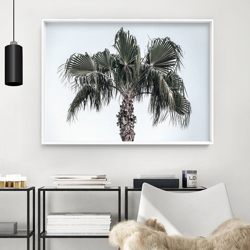 California Coastal Palm Tree Landscape - Art Print, Stretched Canvas or Framed Canvas Wall Art, Shown inside a frame