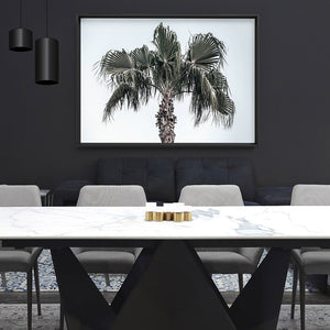 California Coastal Palm Tree Landscape - Art Print, Stretched Canvas or Framed Canvas Wall Art, Shown framed in a room mockup