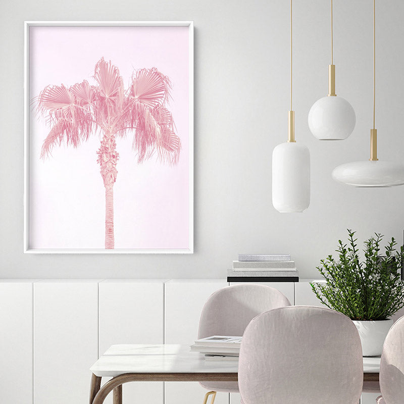 Pink Coastal Palm Tree - Art Print, Stretched Canvas, or Framed Canvas Wall Art