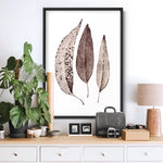 Dried Leaves in Natural Tones - Art Print, Stretched Canvas or Framed Canvas Wall Art, Shown inside a frame