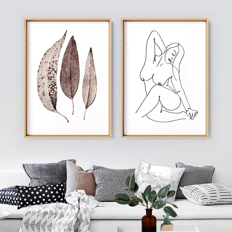 Dried Leaves in Natural Tones - Art Print, Stretched Canvas or Framed Canvas Wall Art, Shown framed in a room mockup