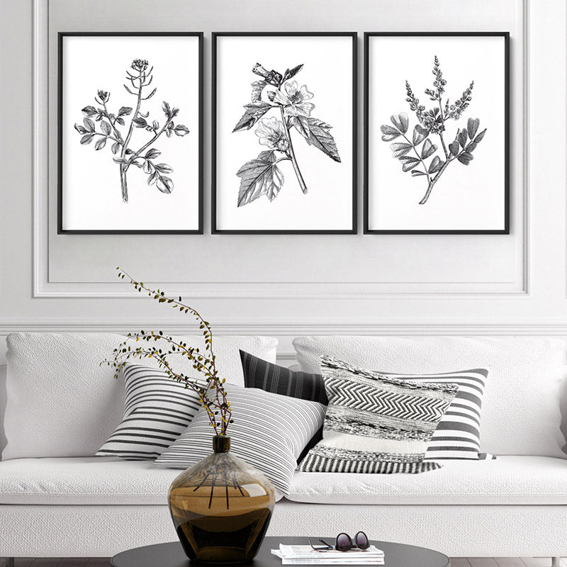 Load image into Gallery viewer, Botanical Floral Illustration I - Art Print, Stretched Canvas or Framed Canvas Wall Art, Shown framed in a room mockup