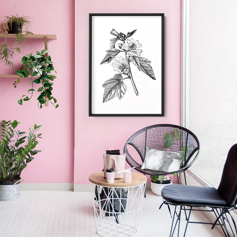 Load image into Gallery viewer, Botanical Floral Illustration II - Art Print, Stretched Canvas or Framed Canvas Wall Art, Shown inside a frame