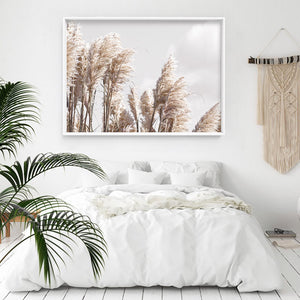 Pampas Grass Landscape in Neutral Tones - Art Print, Stretched Canvas or Framed Canvas Wall Art, Shown inside a frame