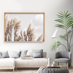 Pampas Grass Landscape in Neutral Tones - Art Print, Stretched Canvas or Framed Canvas Wall Art, Shown framed in a room mockup