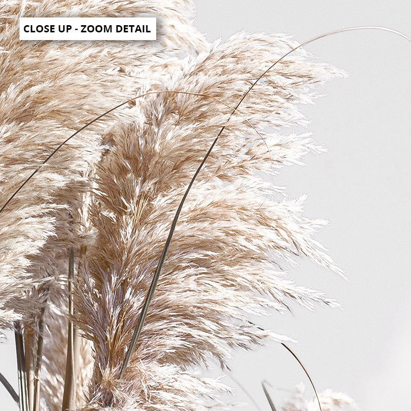 Pampas Grass Landscape in Neutral Tones, Stretched Canvas, or Framed Canvas Wall Art