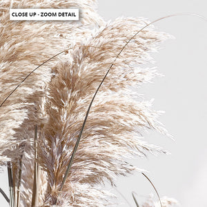 Pampas Grass Landscape in Neutral Tones - Art Print, Stretched Canvas or Framed Canvas Wall Art, Close up View of Print Resolution