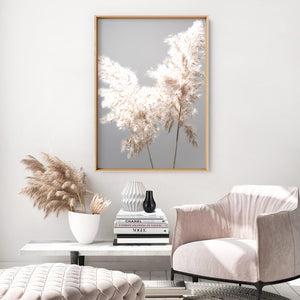 Pampas Grass Ethereal Light I - Art Print, Stretched Canvas or Framed Canvas Wall Art, Shown inside a frame